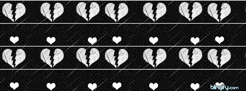 Black And White Broken Hearts facebook cover