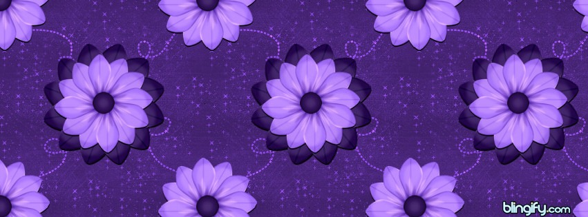 Purple Scrap Flowers facebook cover